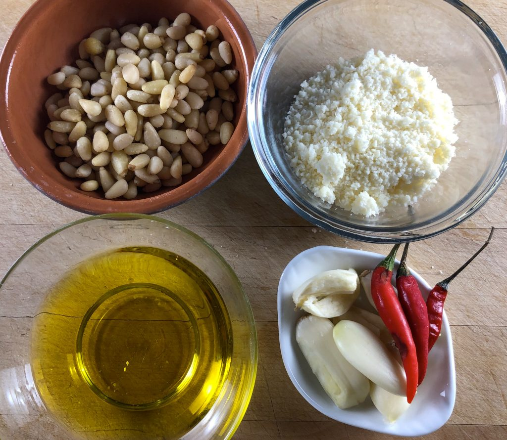 Pine nuts, parmesan, olive oil, garlic and chilis