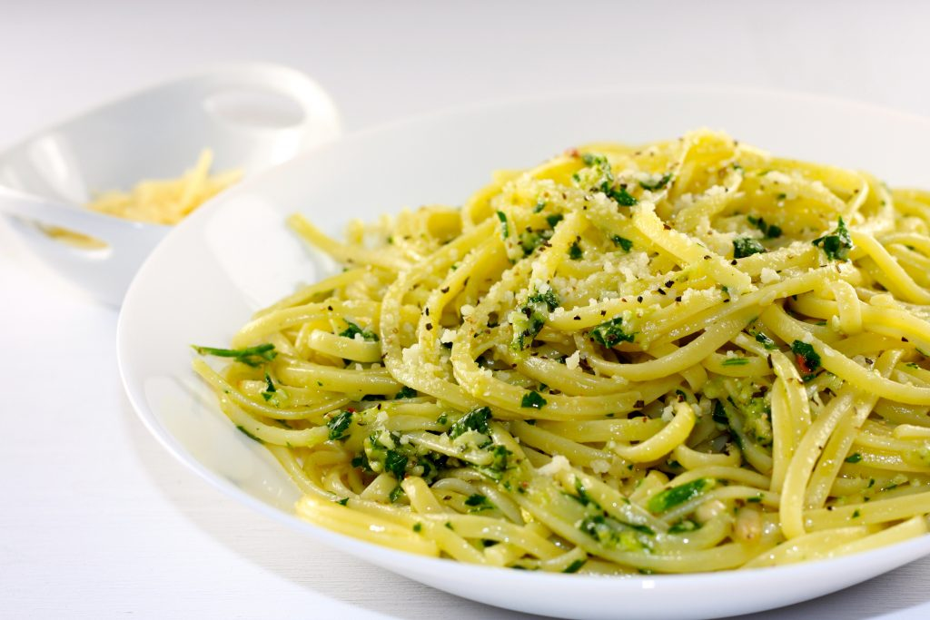 Parsley Pesto pasta and parmesan