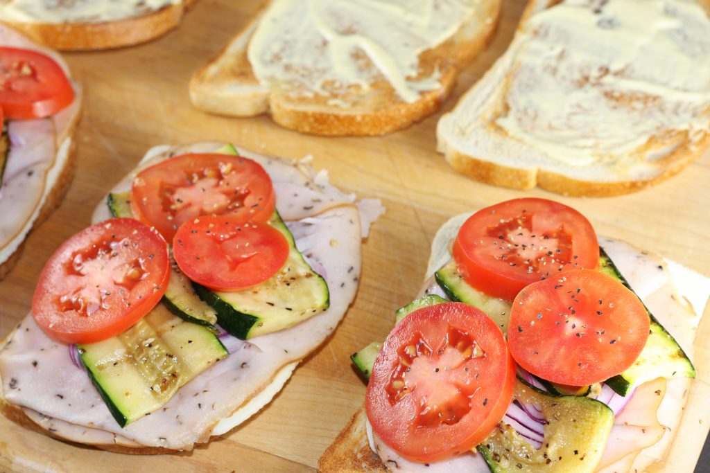 Healthy Turkey Sandwich With Grilled Zucchini
