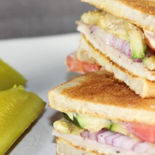 Healthy Turkey Sandwich With Zucchini and Pickle