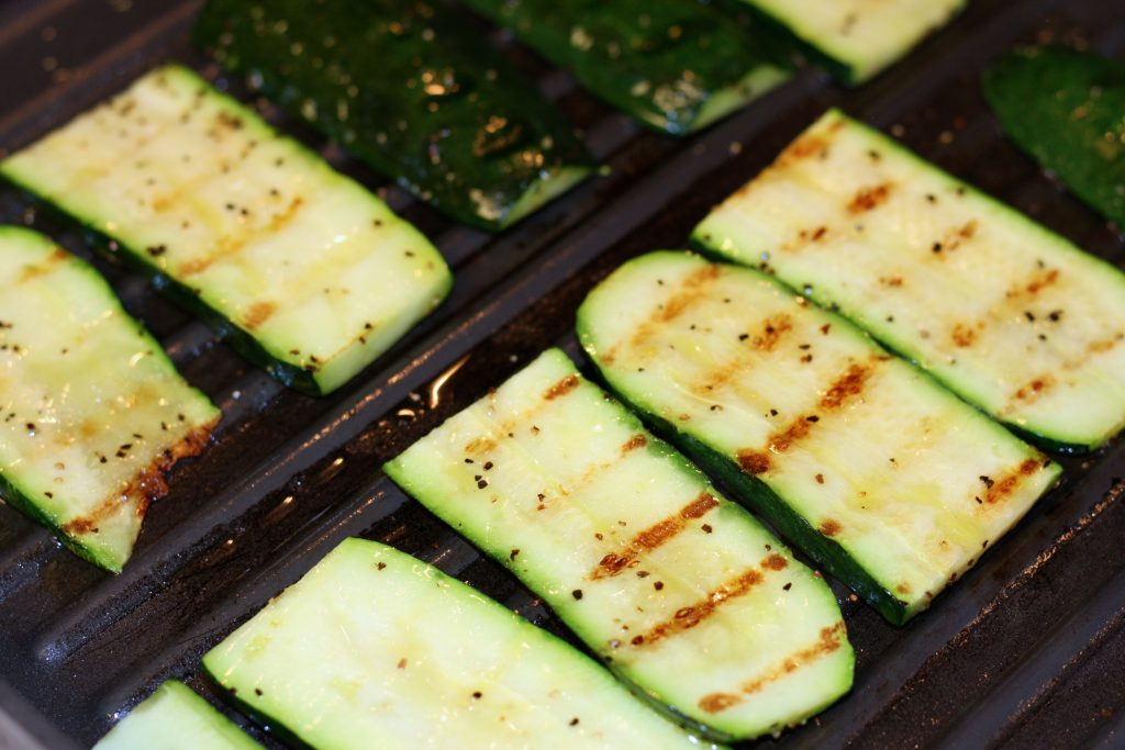Zucchini on a grilling pan