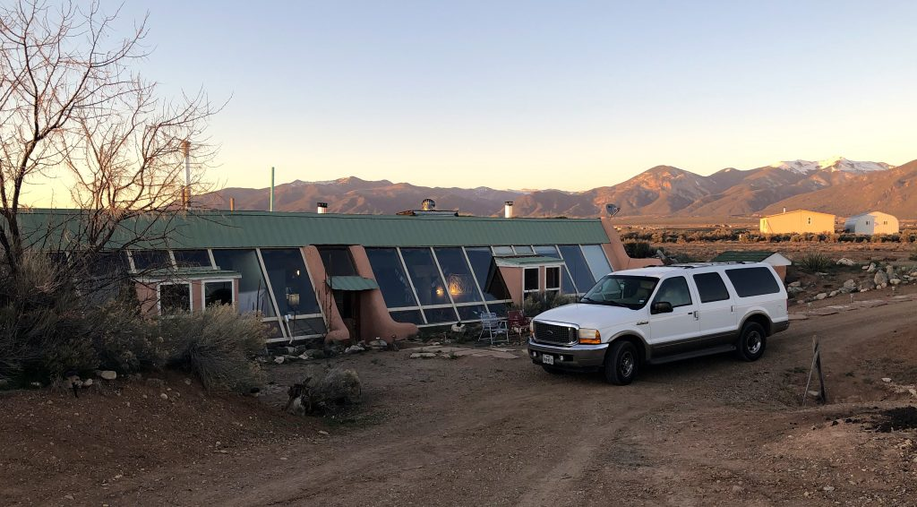 Earthship in Taos and car