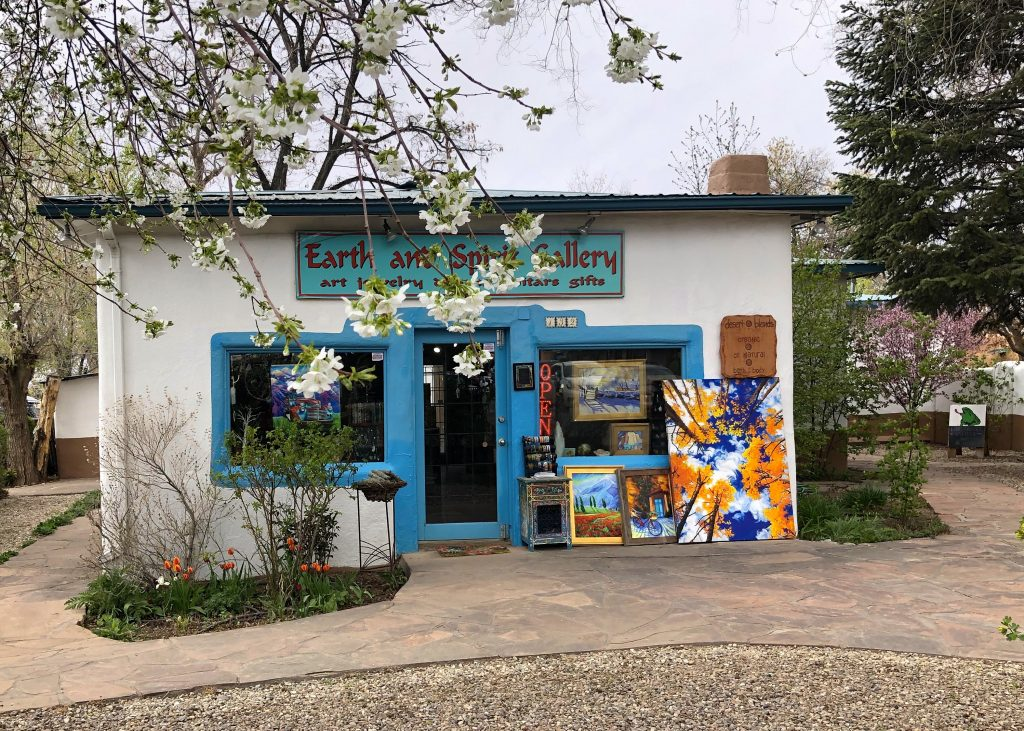 Earth and Spirit Gallery in Taos and trees