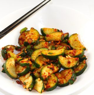 Korean Zucchini Side Dish with chopsticks