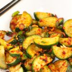 Korean Zucchini Side Dish and chopsticks