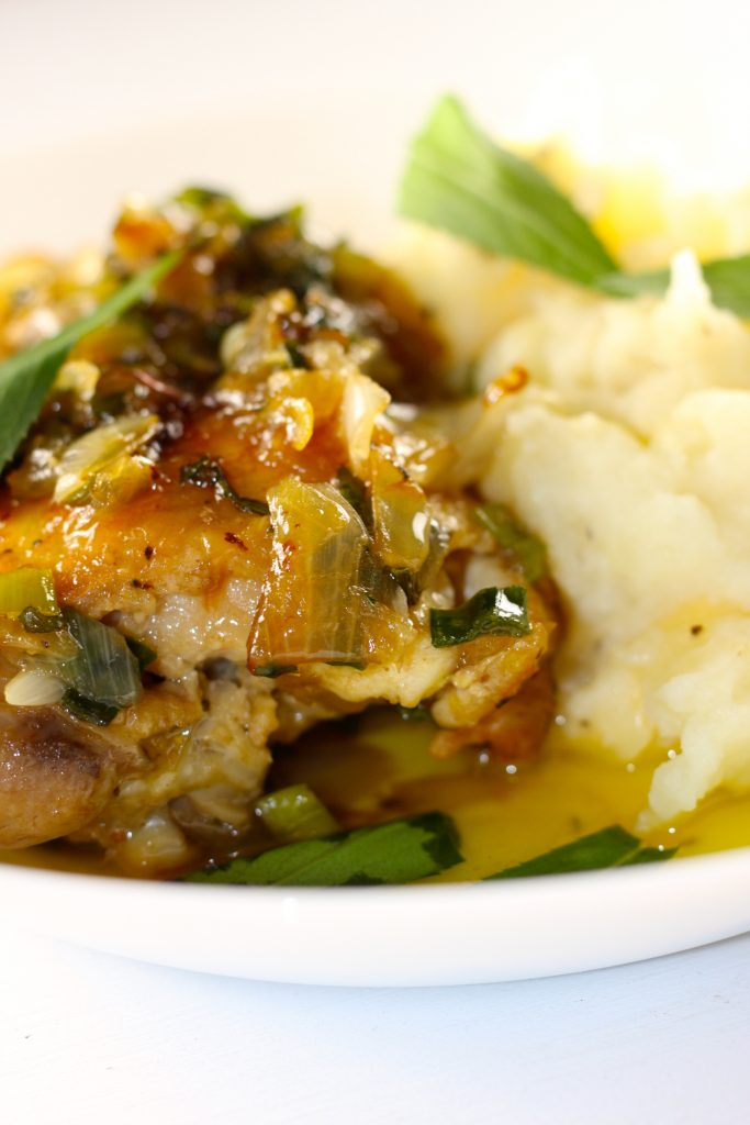 chicken with tarragon and mashed potatoes