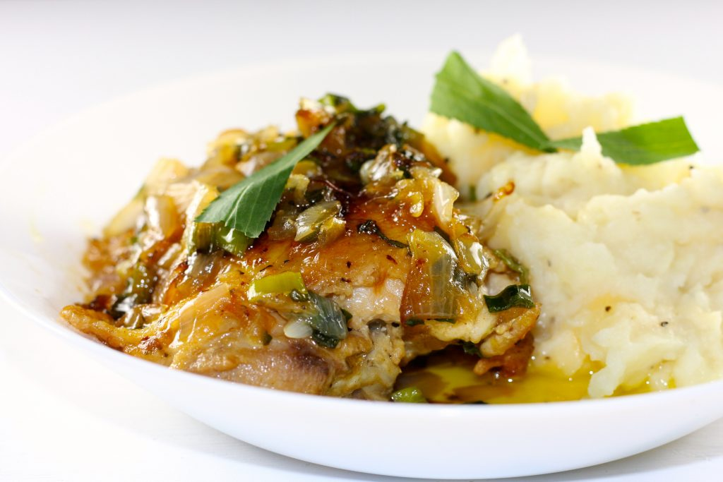 Tarragon Chicken and mashed potatoes