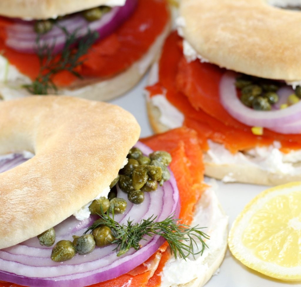 Alaskan Salmon, Cream Cheese, and Capers Bagel