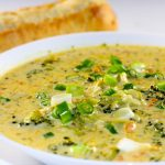 Broccoli and Cheddar Soup and bread
