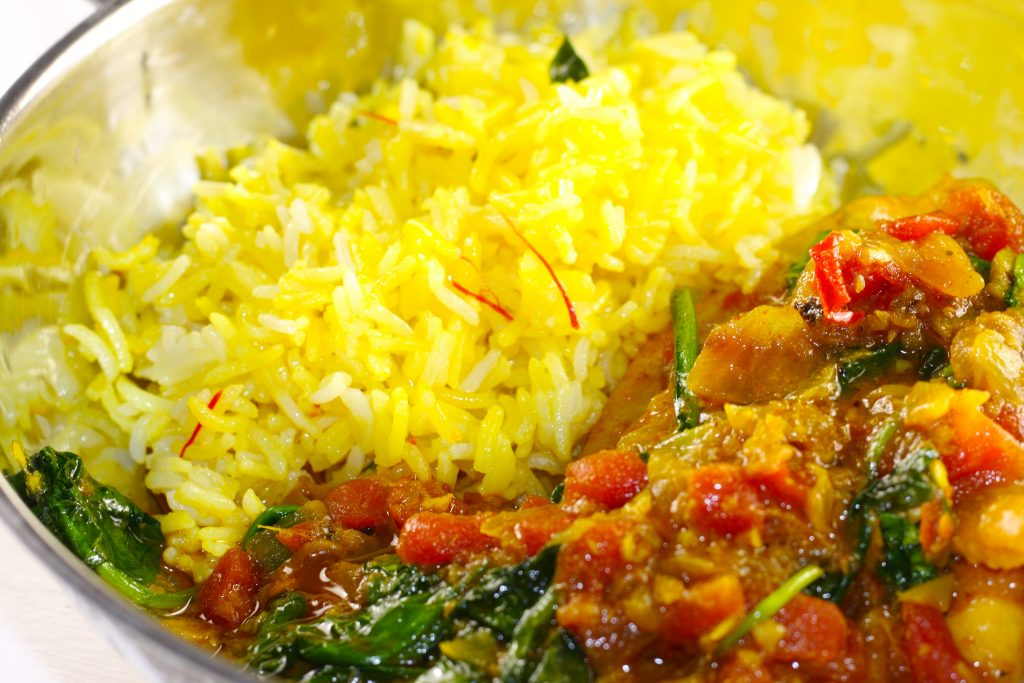 Basmati rice with chicken curry