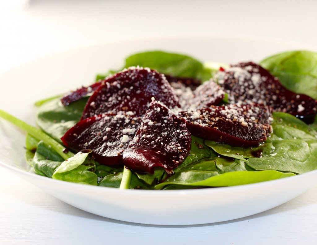 Roasted Beets and Spinach Salad