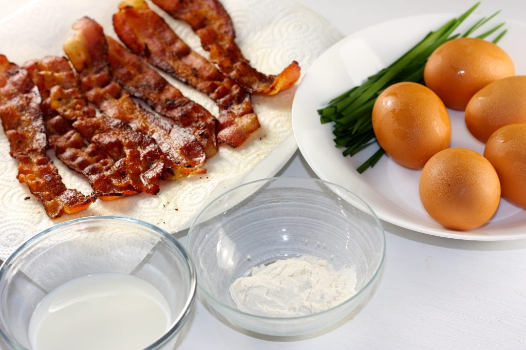 Bacon eggs flour and milk and chives
