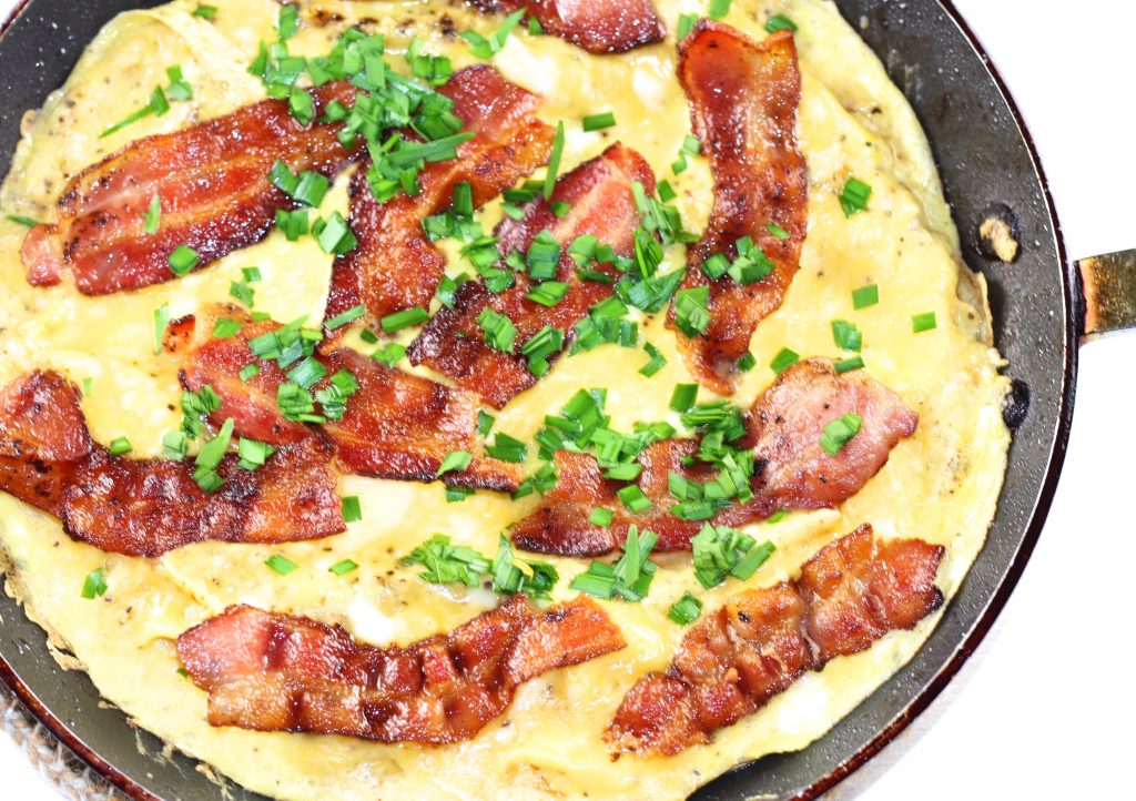 Danish Bacon and Egg Pancake topped with chives