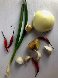 onion chilis green onion ginger garlic