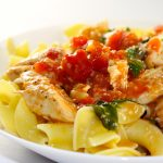 Tomato Basil Chicken Over Pasta