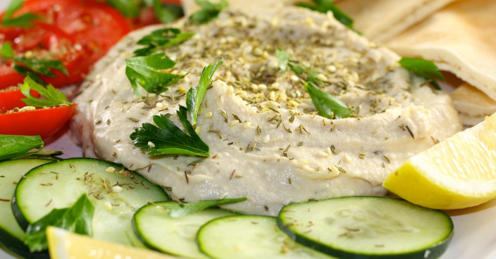 Hummus with zaatar and cucumber