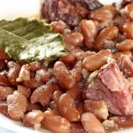 Stewed Beans ham hock and bay leaf