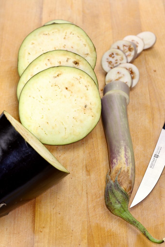 Eggplants and knife