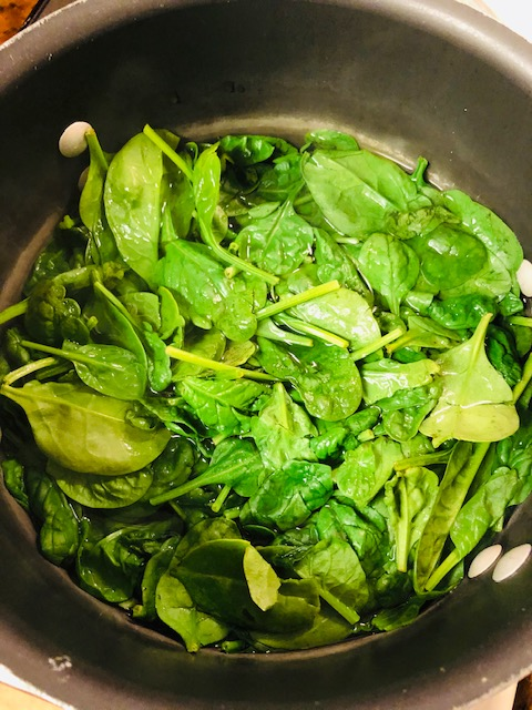 Blanched spinach