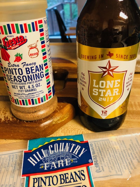 Pinto bean seasoning, lone star beer, and pinto bean package
