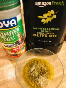 Panko, olive oil, and goya seasoning