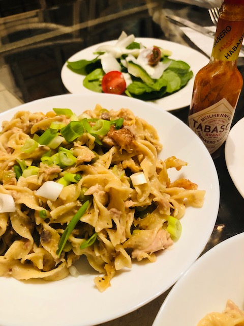 Tuna Noodle Casserole, salad and Tabasco