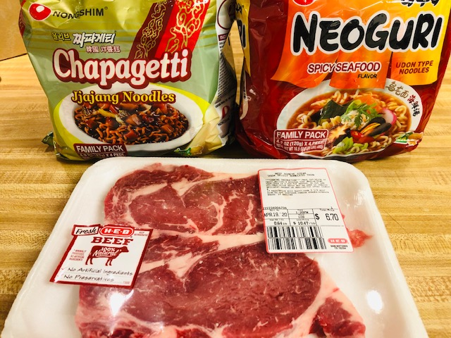 nongshim instant noodles and ribeye steak