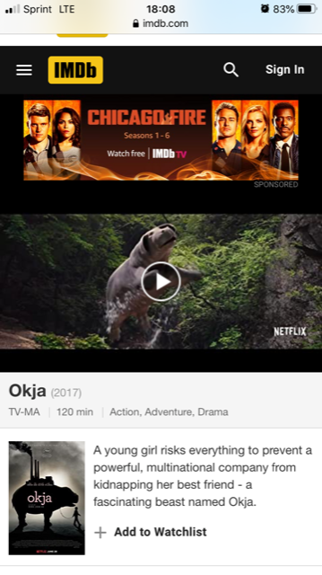 Screenshot of Okja
