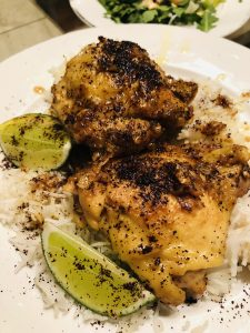 Turmeric Chicken With Sumac and Lime and rice