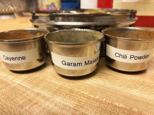 garam masala, chili powder, cayenne pepper