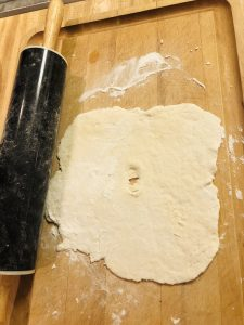 fry bread rolled out with a rolling pin