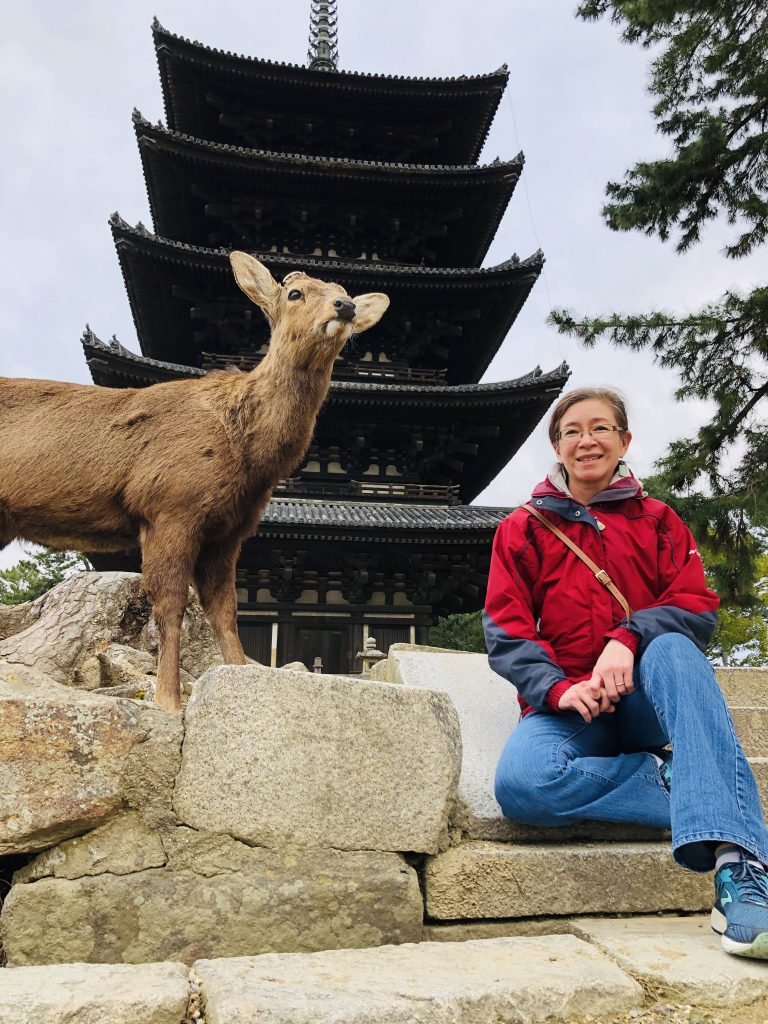 temple, person, and deer