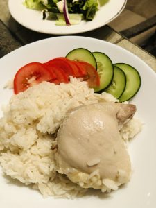 Hainanese Chicken Rice with tomato and cucumber