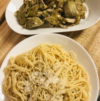 Cacio e pepe and artichokes