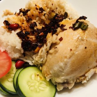 Hainanese Chicken Rice With Tomato, Cucumber, and Chili Oil