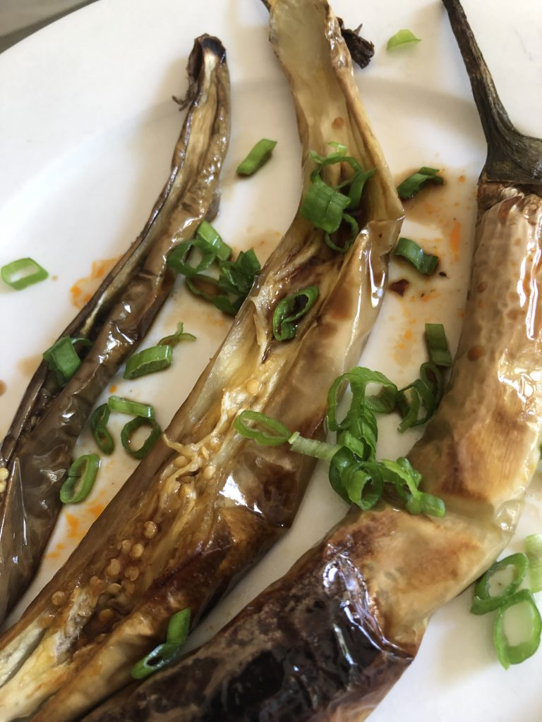 Roasted Japanese Eggplant with Yurinchi Sauce and green onions