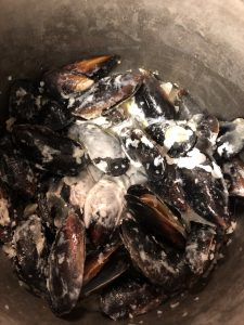 mussels and cream in a stockpot