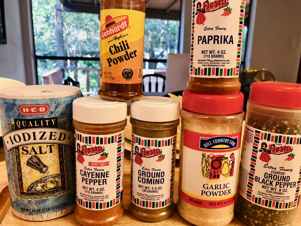 Various spices needed to make Mississippi Hot Tamales