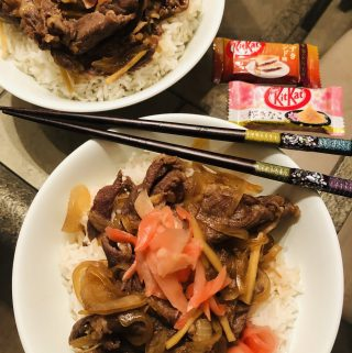 Gyudon, chopsticks and Japanese Kit Kat