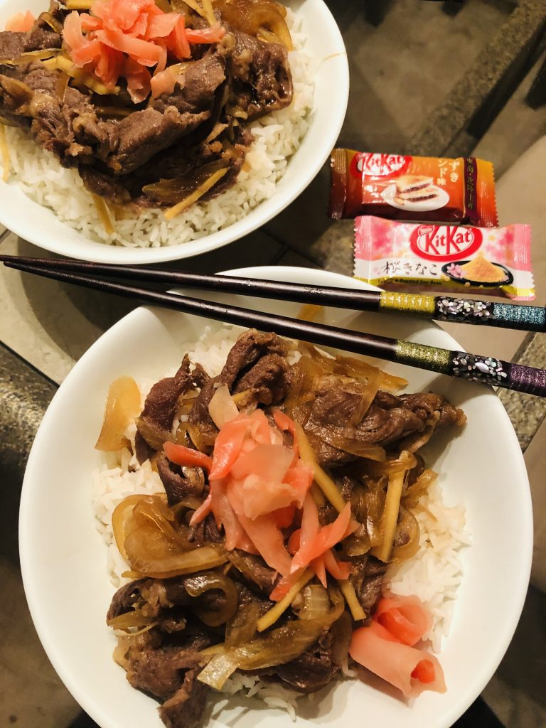 Gyudon, chopsticks and Japanese Kit Kat