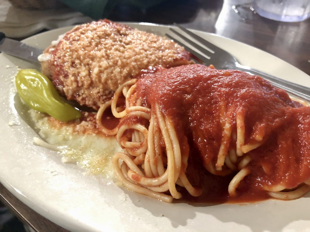 Chicken Parmesan and Spaghetti