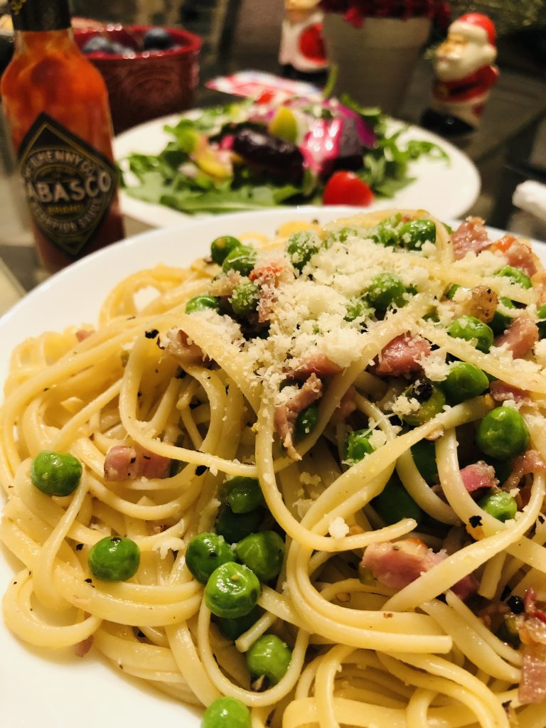 Linguine With Pancetta and Peas