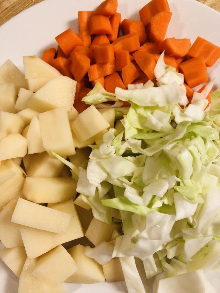 chopped cabbage, potato, and carrot
