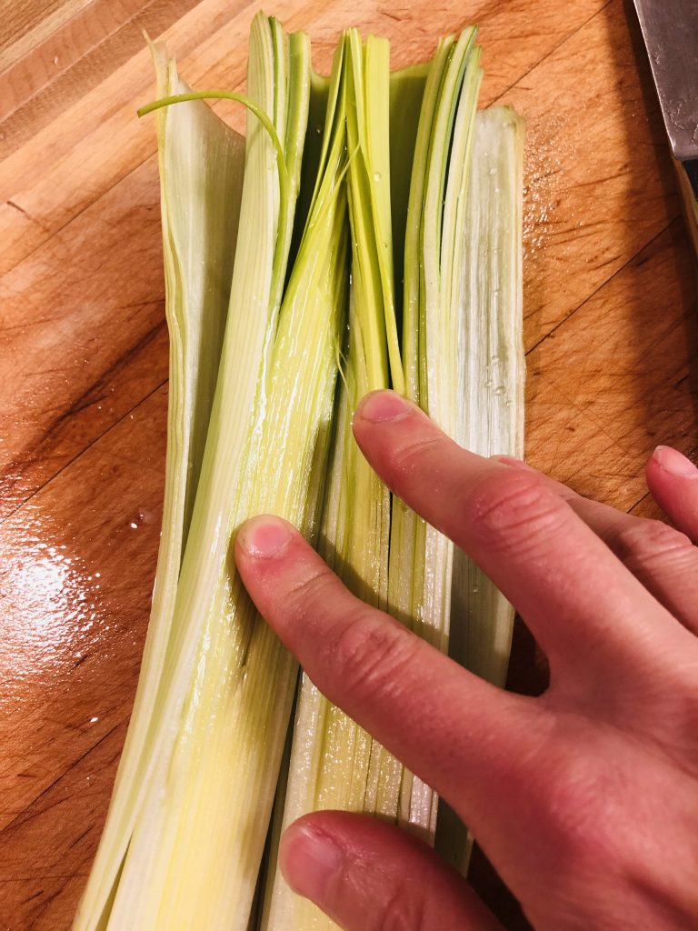 Leeks cut down the middle