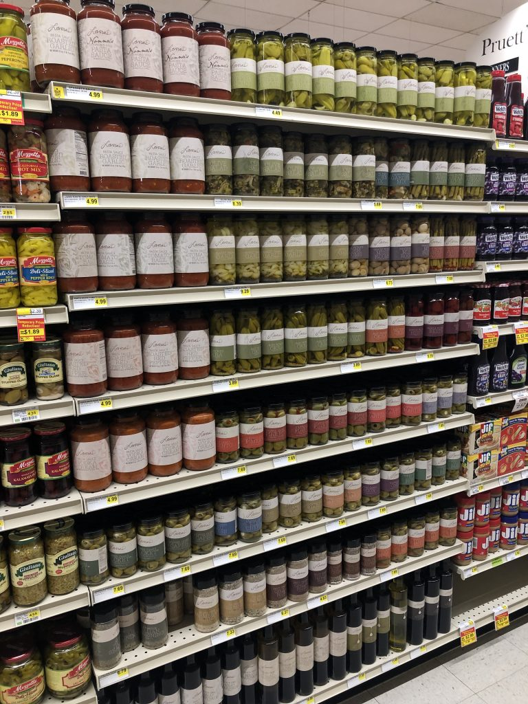 Lovera's Market Products on grocery store shelves