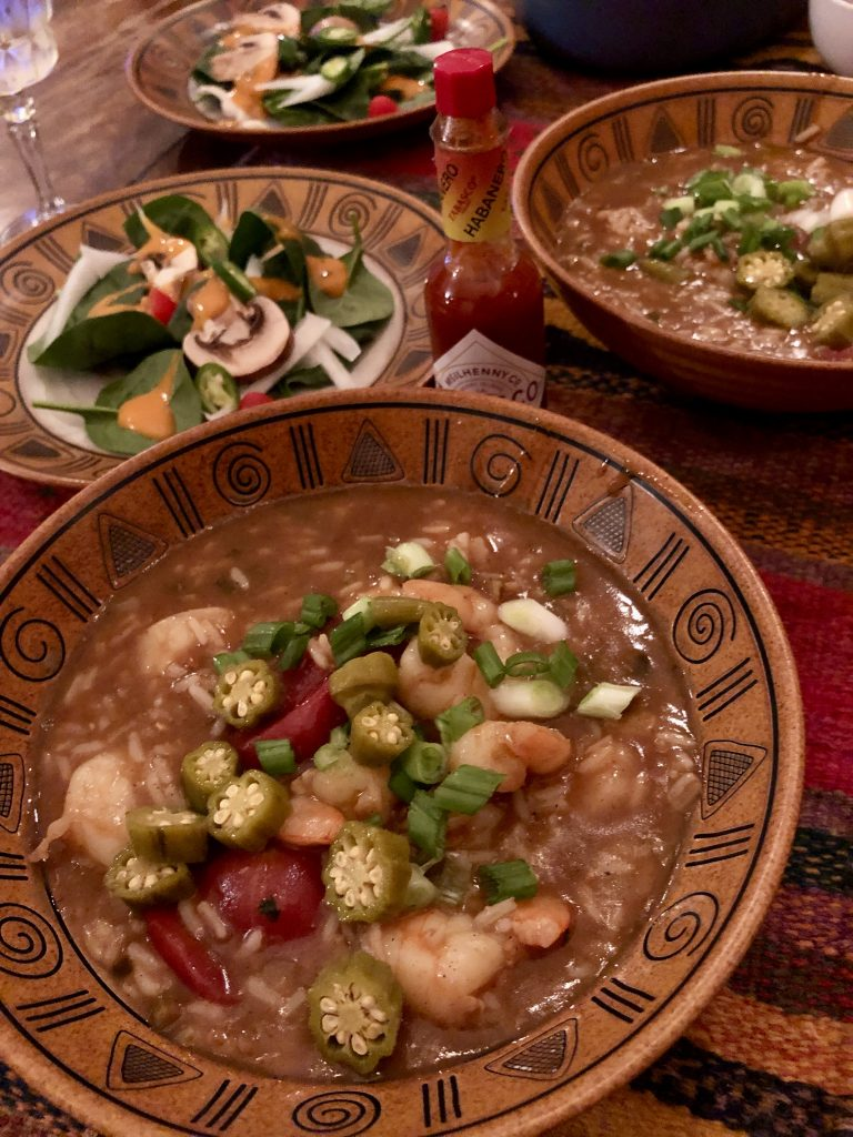 Shrimp Gumbo with salad