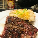 Baby back pork ribs with baked potato and Central BBQ Jerk Seasoning
