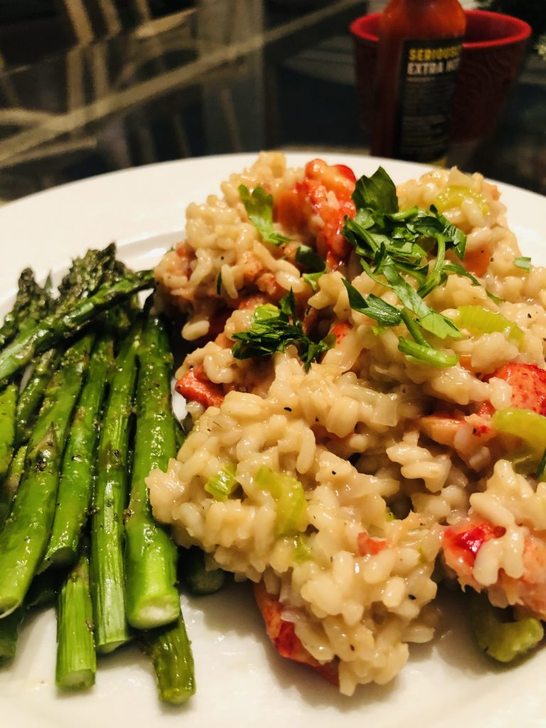 lobster risotto with asparagus