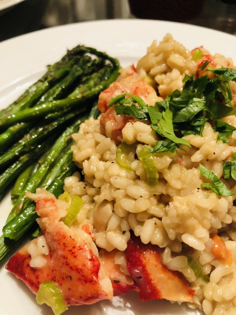 Lobster risotto and asparagus