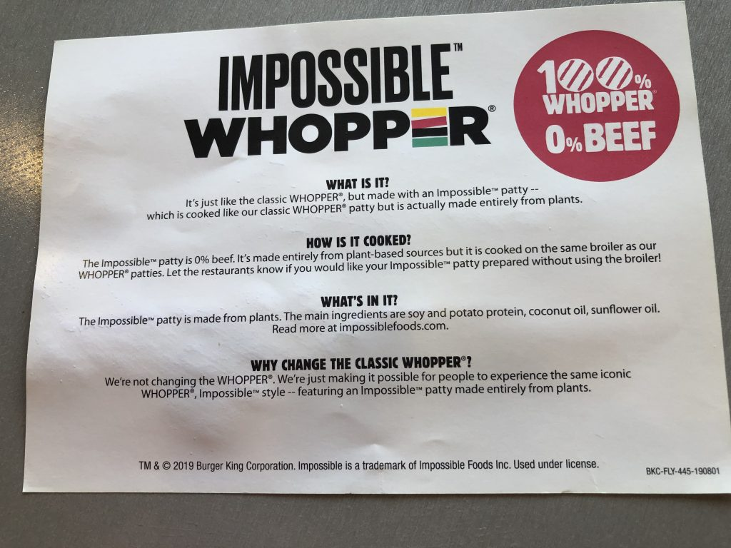 Impossible Whopper Info Card
